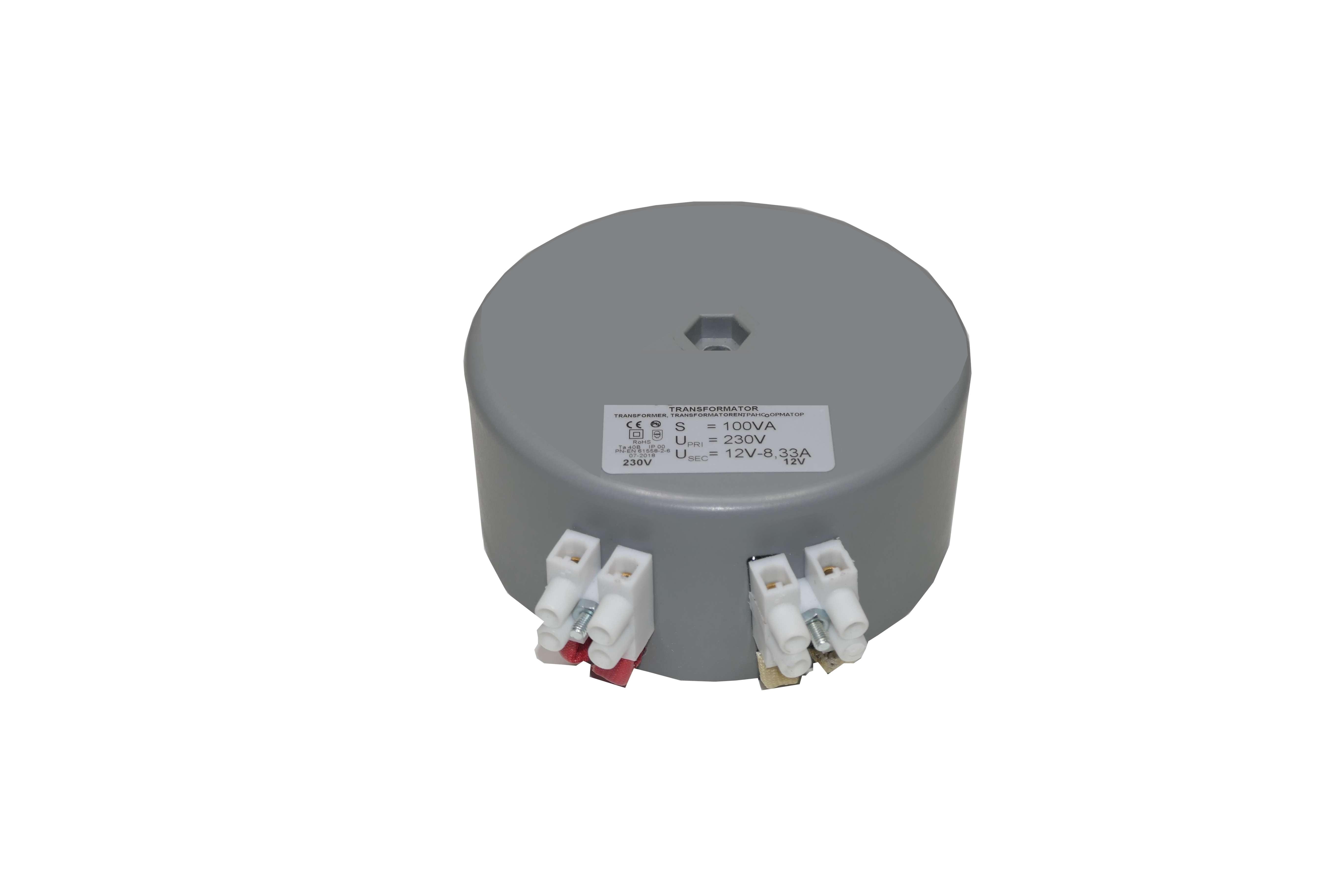 Transformateur toroïdal 12V – 230V – ROHS 100VA – 8.33A – 1,2kg – D9,5cm – H4.4cm