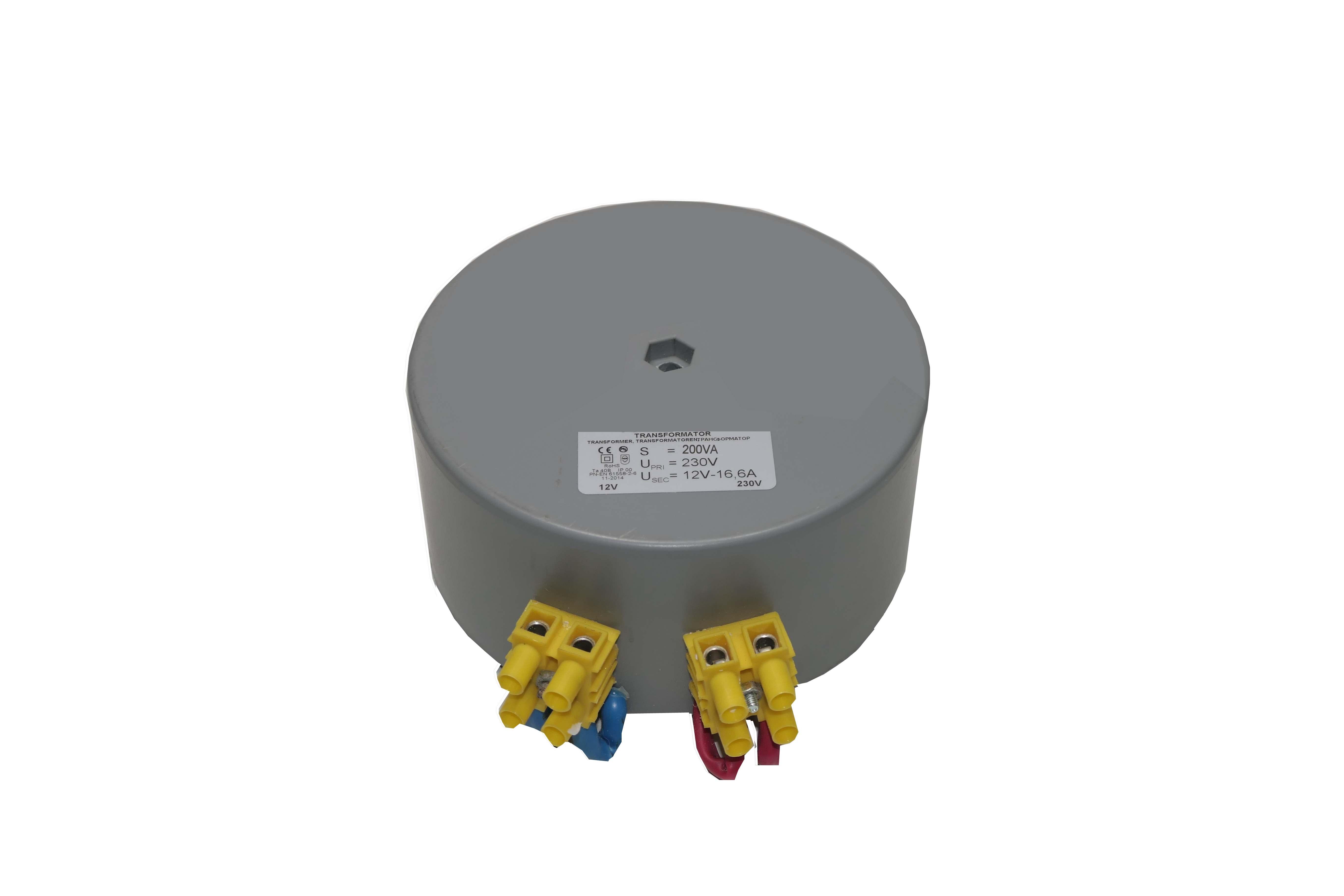 Transformateur toroïdal 12V – 230V – ROHS 200VA – 16.6A – 2.4kg – D11,5cm – H5.2cm